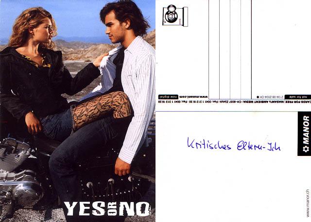 Tussi examiniert Mackerhemd (Werbung für YES OR NO), handschriftliche Anmerkung: Kritisches Eltern-Ich