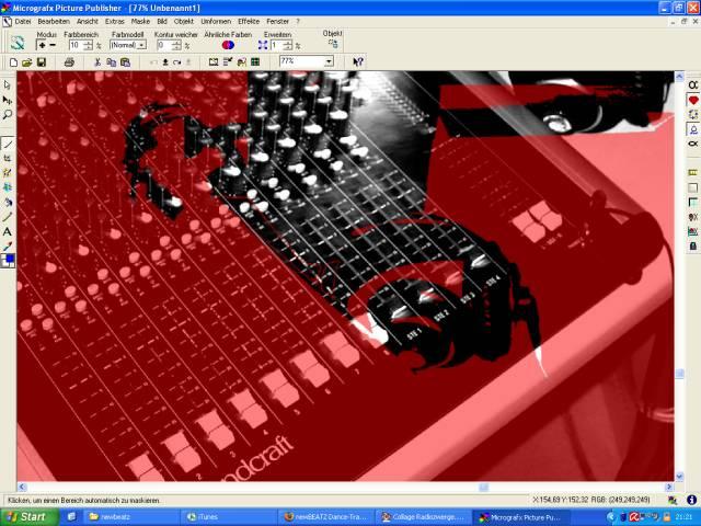 Micrografx Picture Publisher mit Mischpult, Kopfhörer und verrutschter Rubinschicht