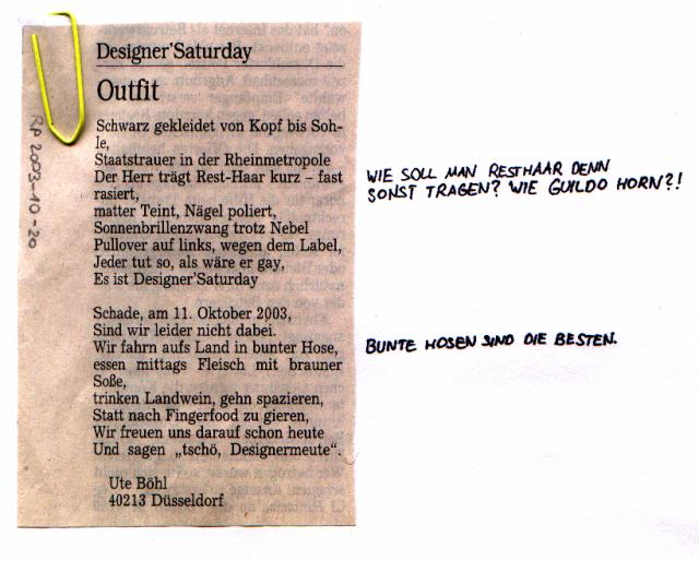 Gereimter Leserbrief, der sich über den Designer'Saturday mokiert, mit sarkastischen Randbemerkungen versehen.